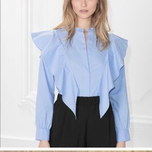 & other stories ruffle blue blouse sz 4